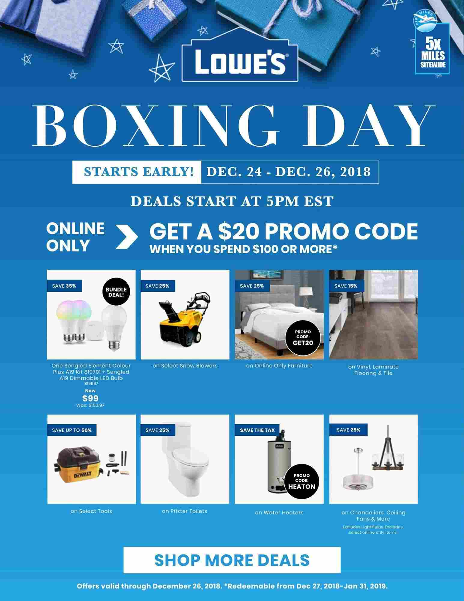 LINEN CHEST BOXING DAY FLYER Lowe's Flyer (ON) Boxing Day