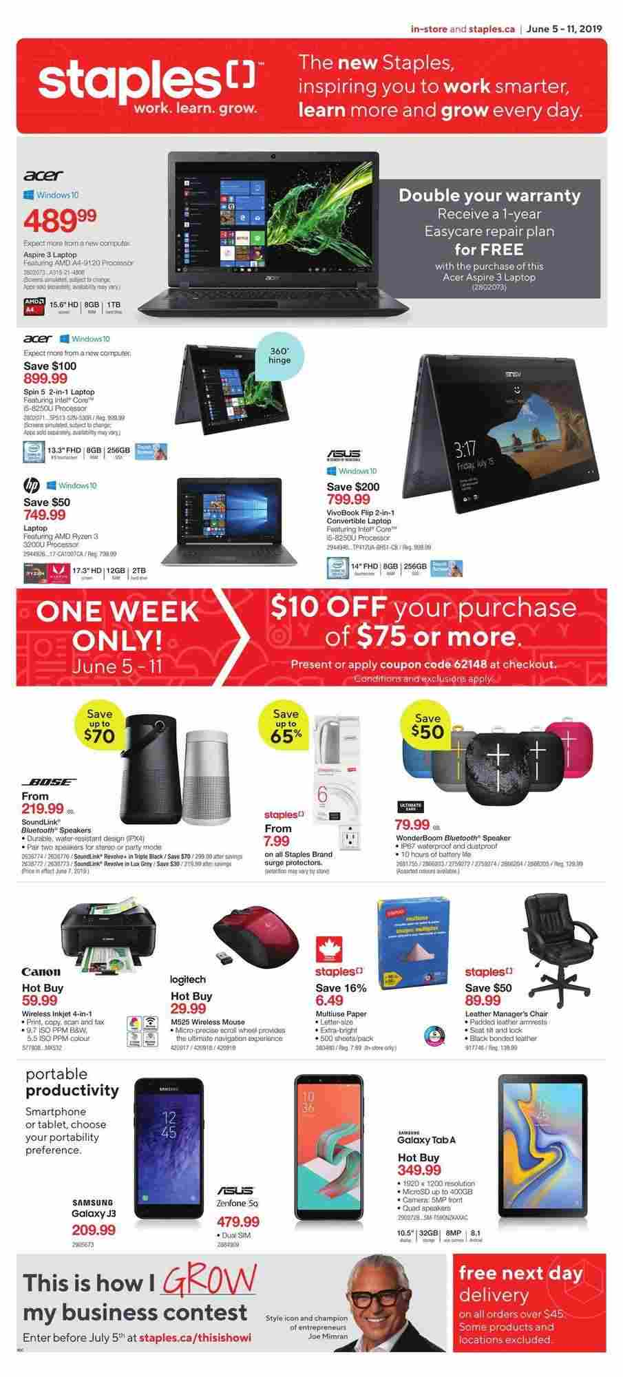 Staples Canada Flyer (ON) June 5 - 11 2019