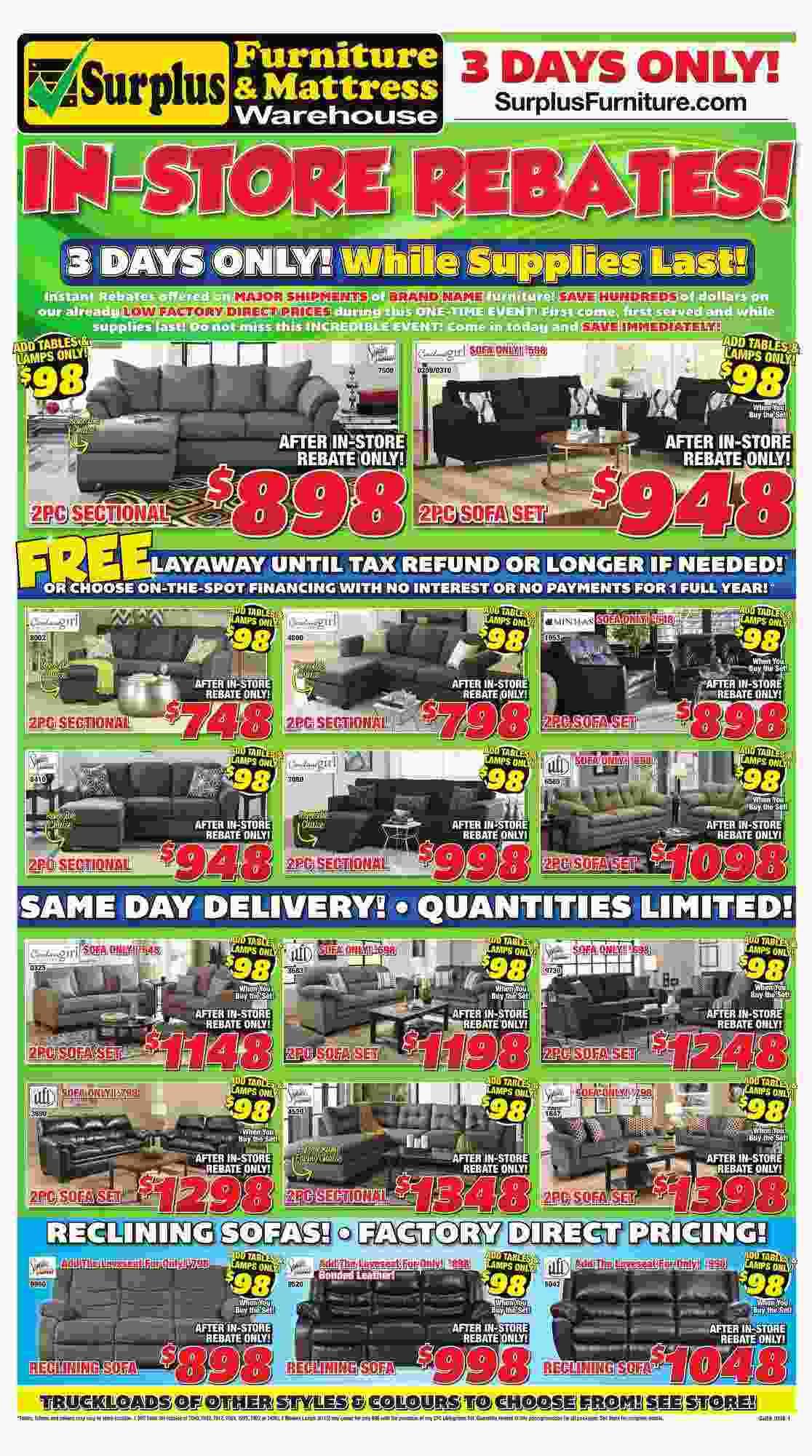 Surplus Furniture & Mattress Warehouse Flyer (AB) January 30