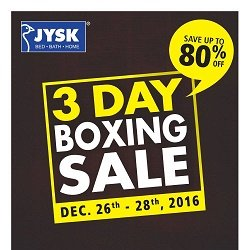 JYSK Flyer 3 Day Boxing Sale Dec 23 - 28 2016