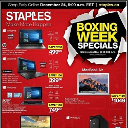 Staples Flyer Boxing Week Specials Dec 26 - Jan 3 2017