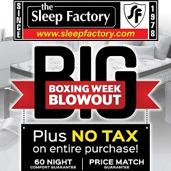 The Sleep Factory Boxing Week Blowout Dec 24 - Jan 15 2017
