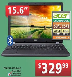 Canada Day Acer cloudbook dual core laptop are on sale